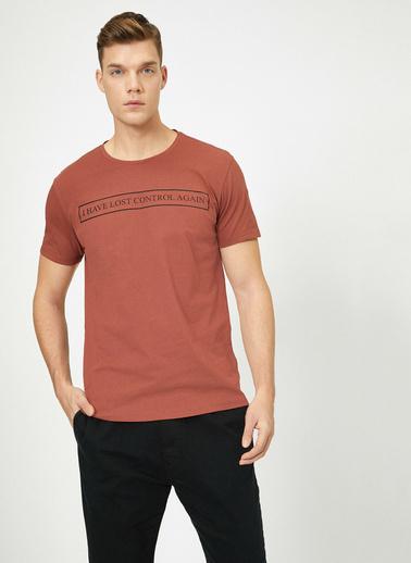 Koton Bisiklet Yaka Yazılı Baskılı Slim Fit T-Shirt Kırmızı